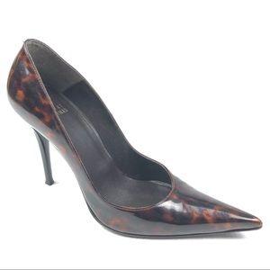 STUART WEITZMAN shoes 8.5 animal print patent heel